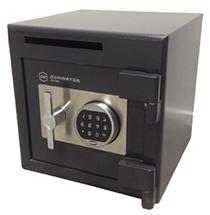 A versatile and compact front loading deposit safe with heavy duty locking components.