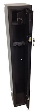 The compact sized GC-0 provides entry level compliant security for 3 rifles, utilising dual high security key locks